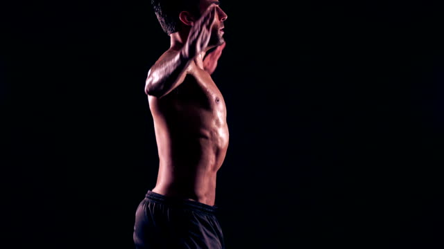 athletic male jumping rope slow-motion - star jump stock videos & royalty-free footage