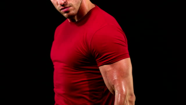 athletic male lifting weights - arm curl stock videos & royalty-free footage