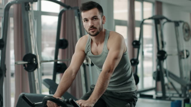 athletic man in a health club - thin stock videos & royalty-free footage