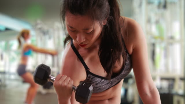 athletic millennial woman lifting weights indoors at gym - arm curl stock videos & royalty-free footage