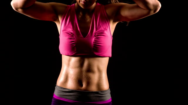 athletic woman excising - abdominal muscle stock videos & royalty-free footage