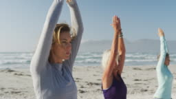 Athletic women performing yoga in the beach