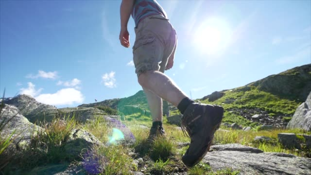 athletic young man hiking on mountain environment - shorts stock-videos und b-roll-filmmaterial