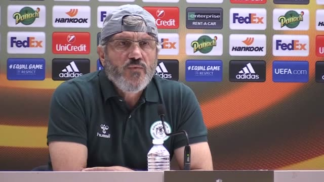 Atiker Konyaspor's head coach Mustafa Resit Akcay and defender Ali Turan attend a press conference on the eve of the UEFA Europa League Group I...