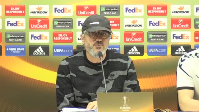 Atiker Konyaspor's head coach Mustafa Resit Akcay and defender Nejc Skubic attend a press conference on the eve of their UEFA Europa League Group I...