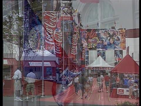 vídeos y material grabado en eventos de stock de effects of olympic preps usa georgia atlanta superimposed shots representing city centre/state flag/olympic exhibition / atlanta sign 'life is good... - georgia estado de eeuu