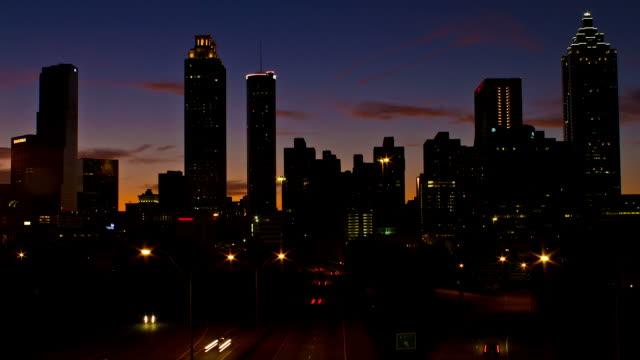 atlanta sunset time lapse - sunset to night stock videos & royalty-free footage