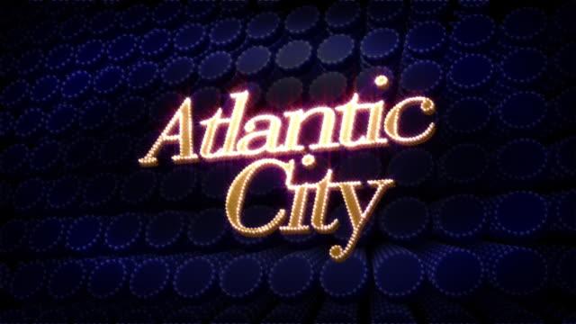 vídeos de stock, filmes e b-roll de atlantic city brilho brilho texto - atlantic city