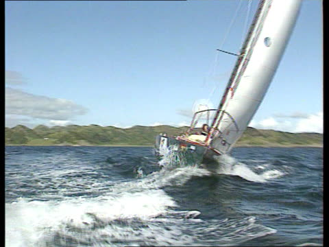 sound of jura cms cameron springthorpe as on deck pulling rope ms ditto lms sailing boat along as springthorpe seen walking along deck track lr ms... - jura bildbanksvideor och videomaterial från bakom kulisserna