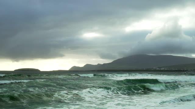 Atlantic Ocean Waves Rolling Onto Keel Beach In Ireland