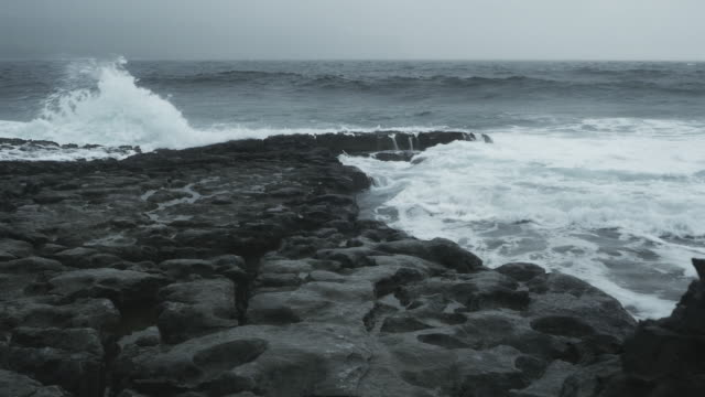 Atlantic Waves Breaking At Rocky Shore