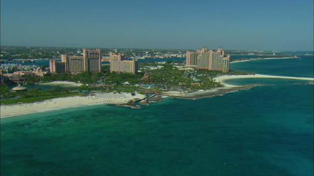 aerial atlantis resort on paradise island, nassau, bahamas - bahamas stock videos and b-roll footage