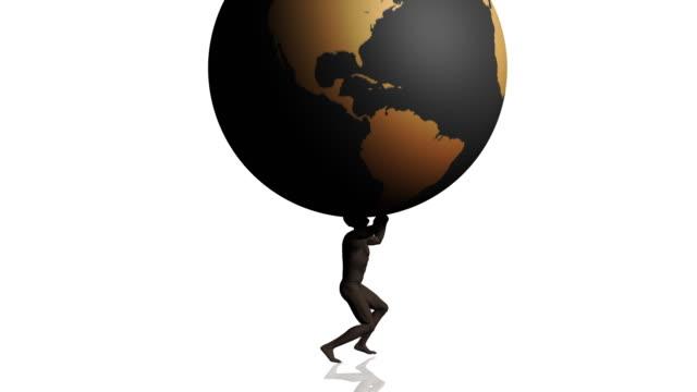 atlas holding globe hd1080 - titan moon stock videos & royalty-free footage