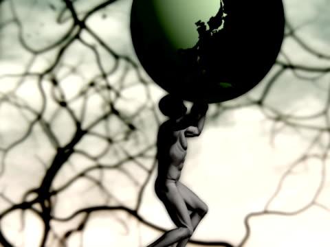 atlas spining e con terra (loop - muscolo umano video stock e b–roll