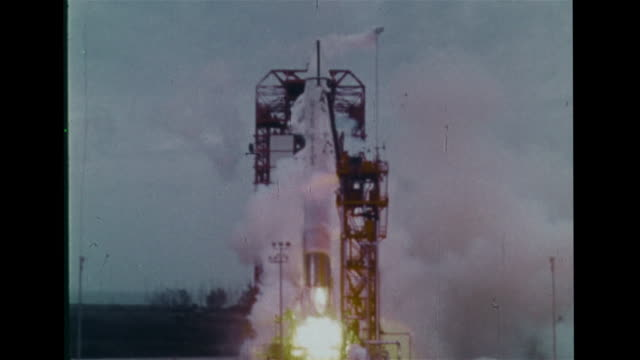AtlasCentaur 5 rocket lifting off falling back onto launch pad exloding into fireball filling frame Computer error booster valve shutdown explosion...