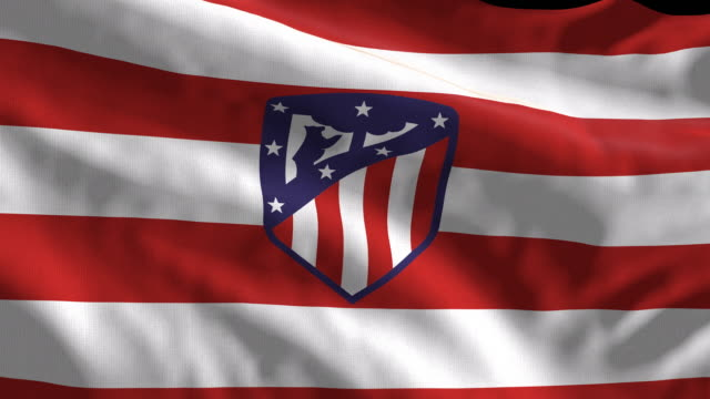atletico de madrid spanish soccer team flag waving. computer generated animation for editorial use. seamlessly looped and close up. - loopable moving image stock videos & royalty-free footage