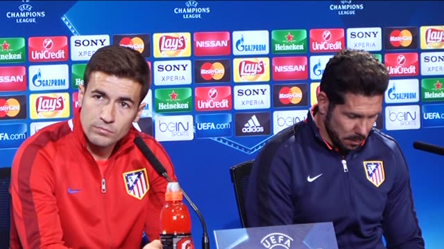 atletico madrid's head coach diego simeone and midfielder gabi fernandez attend press conference at vicente calderon stadium in madrid spain on april... - uefa champions league stock videos and b-roll footage