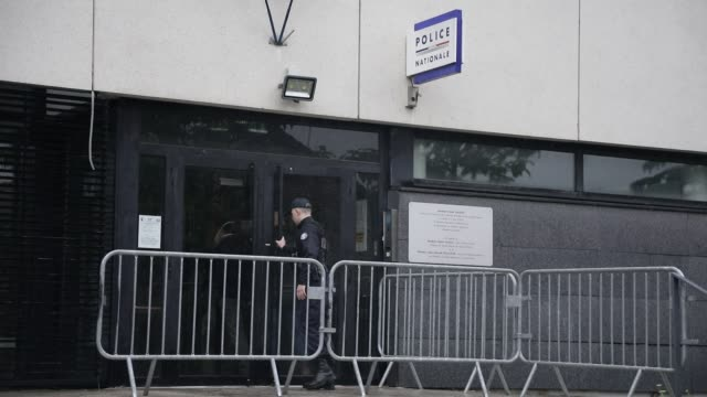 atmosphere at a police station entrance on june 12, 2020 in villeneuve la garenne, france. - police station stock videos & royalty-free footage
