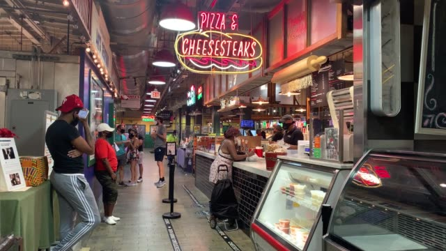 atmosphere at reading terminal market among general views of philadelphia, pennsylvania on july 06 as major cities in the u.s. continue to adjust to... - philadelphia pennsylvania stock-videos und b-roll-filmmaterial