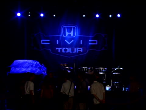 atmosphere at the black eyed peas live performance and press conference announcing the 6th annual honda civic tour at honda american headquarters in... - torrance stock videos & royalty-free footage