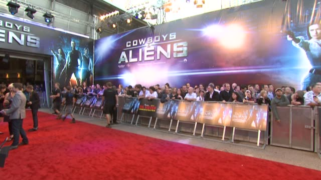 atmosphere at the cowboys aliens uk premiere at london england - cowboys & aliens stock videos and b-roll footage
