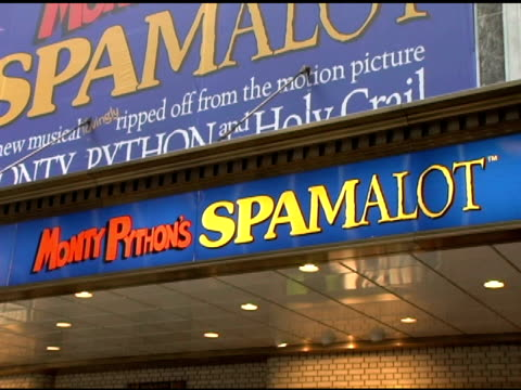 atmosphere at the first anniversary of monty python's 'spamalot' celebration with world's largest coconut orchestra at shubert alley in new york, new... - monty python stock videos & royalty-free footage