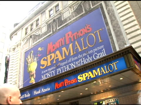 atmosphere at the first anniversary of monty python's 'spamalot' celebration with world's largest coconut orchestra at shubert alley in new york, new... - shubert alley stock videos & royalty-free footage