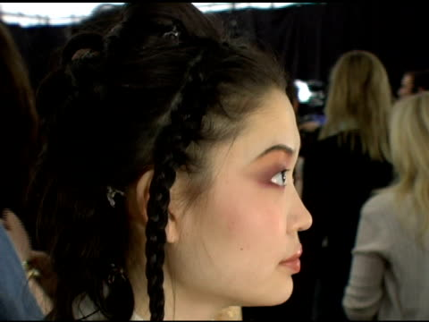atmosphere at the olympus fashion week fall 2006 tracy reese backstage and runway at the promenade, bryant park in new york, new york on february 5,... - オリンパスファッションウィーク点の映像素材/bロール