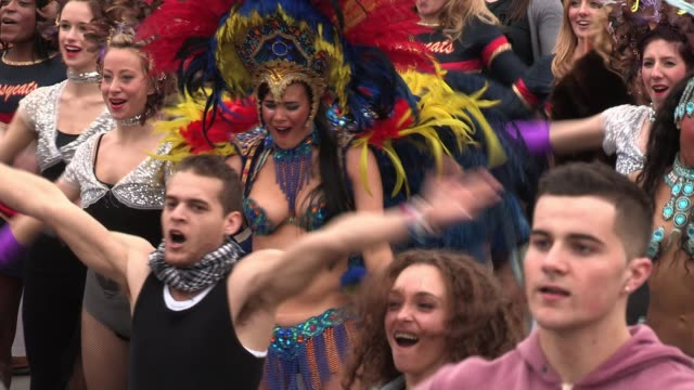 atmosphere at the rehearsals for a 'flash mob' which is to be used for 'britain's got talent' promotions attended by anthony mcpartlin declan... - britain's got talent stock videos & royalty-free footage