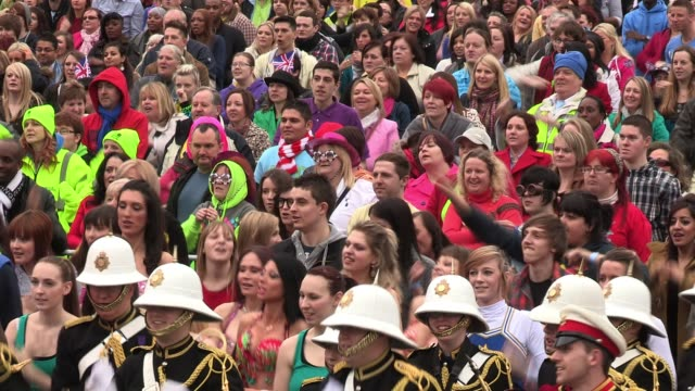 atmosphere at the rehearsals for a 'flash mob' which is to be used for 'britain's got talent' promotions attended by anthony mcpartlin declan... - flash mob stock videos and b-roll footage