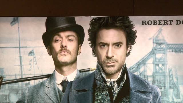 atmosphere at the sherlock holmes press conference at london england - sherlock holmes stock videos & royalty-free footage