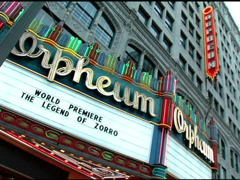 atmosphere at the 'the legend of zorro' premiere at the orpheum theatre in los angeles, california on october 16, 2005. - orpheum theatre stock videos & royalty-free footage