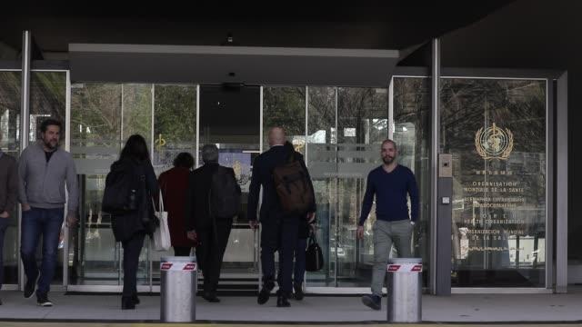 atmosphere at world health organization head office during covid-19 coronavirus crisis on february 18, 2020 in geneva, switzerland. - logo stock videos & royalty-free footage