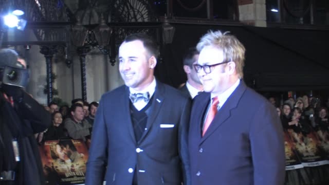 atmosphere - elton john and david furnish at the australia uk premiere at london . - film premiere stock videos & royalty-free footage