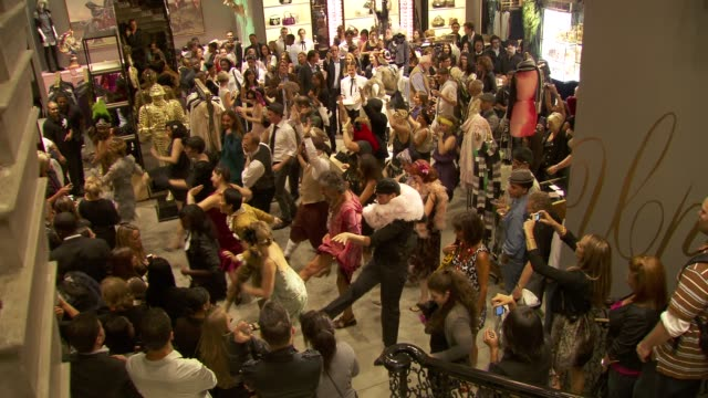 flash mob dance at the juicy couture celebrates fashion's night out at new york ny - flash mob stock videos and b-roll footage