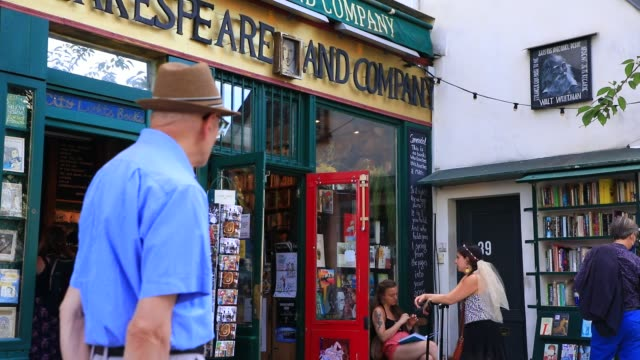"atmosphere in front of the bookstore specializing in english literature ""shakespeare and company"" on july 19, 2020 in paris, france. this unmissable... - entrance sign stock videos & royalty-free footage"