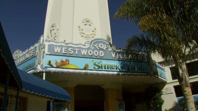 atmosphere - mann theatre shrek the third marque outside at the 'shrek the third' premiere at the mann village theatre in westwood, california on may... - regency village theater stock videos & royalty-free footage