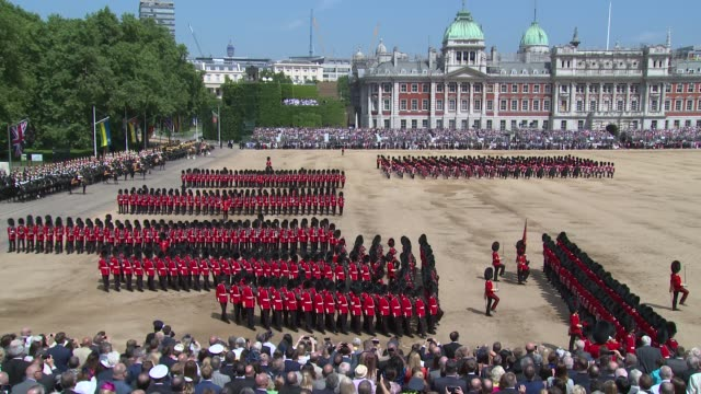 atmosphere marching bands at horse guards parade on june 09 2018 in london england - british royalty stock videos & royalty-free footage