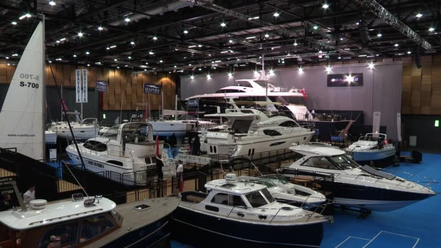 atmosphere prior to the official opening of the london boat show 2012 london boat show 2012 at excel london on january 05 2012 in london england - london boat show stock videos and b-roll footage