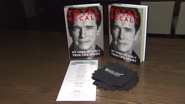 signage at arnold schwarzenegger celebrates the launch of his autobiography, total recall with a party at s mixology101 on 10/5/12 in los angeles, ca. - autobiography stock videos & royalty-free footage
