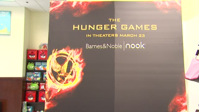 signage at barnes noble celebrates the hunger games los angeles release on 3/22/12 in los angeles ca - barnes & noble stock videos and b-roll footage