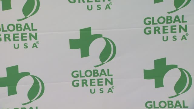 signage at global green usa's 9th annual preoscar party on 2/21/12 in hollywood ca - oscar party stock-videos und b-roll-filmmaterial