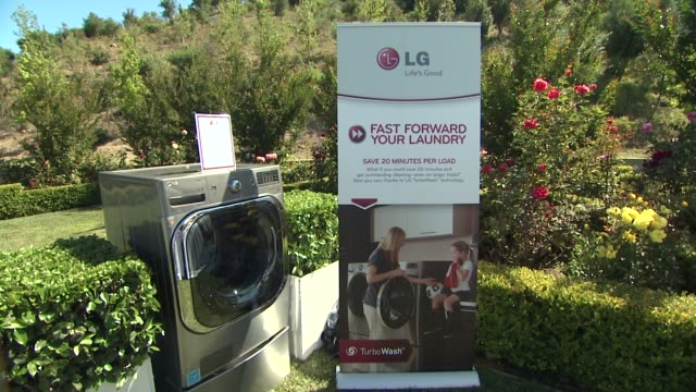 signage at lg electronics hosts '20 magic minutes a mega celebration' to launch the new megacapacity turbowash washer atmosphere signage at lg... - washer stock videos and b-roll footage