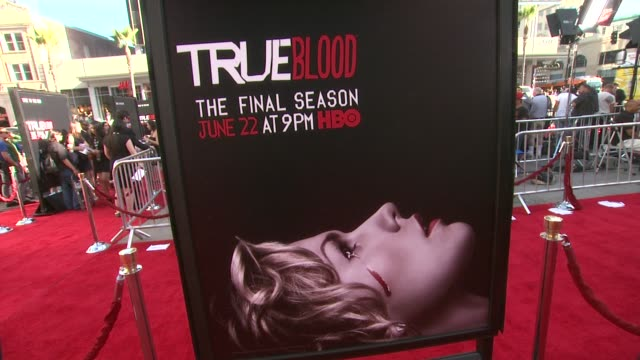 vídeos y material grabado en eventos de stock de atmosphere signage at true blood seventh and final season premiere at tcl chinese 6 theatres on june 17 2014 in hollywood california - mann theaters