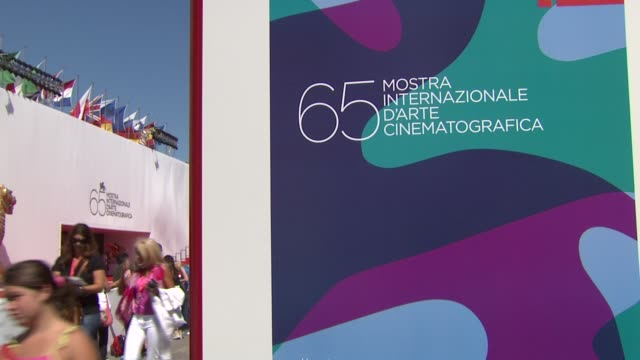 atmosphere venice film festival poster at the 65th venice film festival atmosphere at venice - festival poster stock videos & royalty-free footage