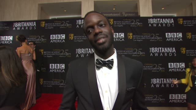 stockvideo's en b-roll-footage met ato essandoh on being stuck in hurricane sandy why he wanted to attend the britannia awards his thoughts on the honorees why its important for bafta... - videoato