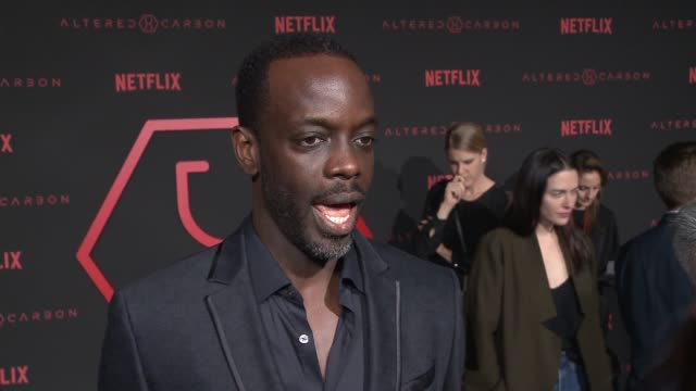 ato essandoh on what altered carbon's about, talks about his character, the most interesting part of the series and if he thinks were close to having... - videoato stock-videos und b-roll-filmmaterial