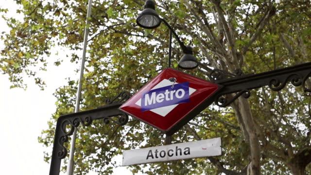atocha railway station metro stop in madrid - madrid stock videos & royalty-free footage