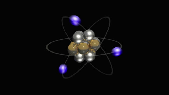 atom showing protons, neutrons and electrons - neutron stock-videos und b-roll-filmmaterial
