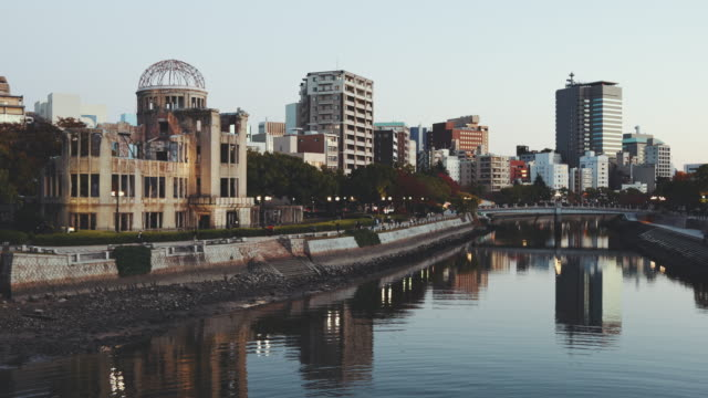 atomic bomb dome hiroshima cityscape twilight, japan - nuclear bomb stock videos & royalty-free footage